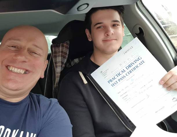 Bob Seys with Thetford pupil who has just passed his test