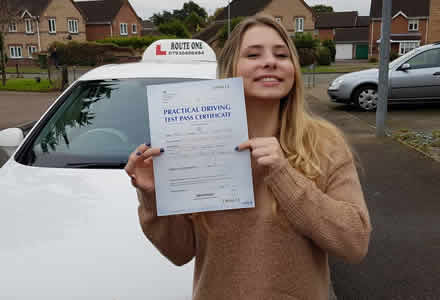 Female student passed test at Bury St Edmunds